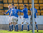 St Johnstone v St Mirren....21.03.15<br /> Steven Anderson celebrates his goal with Brian Graham, Frazer Wright, Dave Mackay and Steven MacLean<br /> Picture by Graeme Hart.<br /> Copyright Perthshire Picture Agency<br /> Tel: 01738 623350  Mobile: 07990 594431