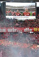 FUSSBALL      DFB POKAL FINALE       SAISON 2011/2012 Borussia Dortmund - FC Bayern Muenchen   12.05.2012 Fans Bayern Muenchen sowie Video-Leinwand mir Arjen Robben und Frack Ribery und den Untertitel bruederlich mit Herz und Hand