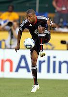 Jordan Graye #16 of D.C. United during an MLS match against the Los Angeles Galaxy at RFK Stadium on July 18 2010, in Washington D.C. Galaxy won 2-1.
