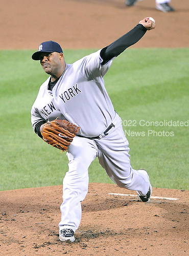 Baltimore, MD - September 2, 2009 -- New York Yankees pitcher C.C. Sabathia (52) pitches in the second inning against the Baltimore Orioles at Oriole Park at Camden Yards in Baltimore, MD on Wednesday, September 2, 2009..Credit: Ron Sachs / CNP.(RESTRICTION: NO New York or New Jersey Newspapers or newspapers within a 75 mile radius of New York City)