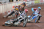 Heat 1: Lee Richardson (red), Kauko Nieminen (blue), Tyron Proctor (yellow) and Freddie Lindgren - Lakeside Hammers vs Wolverhampton Wolves - Elite League Speedway at Arena Essex Raceway - 16/05/11 - MANDATORY CREDIT: Gavin Ellis/TGSPHOTO - Self billing applies where appropriate - Tel: 0845 094 6026