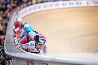 Picture by Alex Whitehead/SWpix.com - 06/03/2016 - Cycling - 2016 UCI Track Cycling World Championships, Day 5 - Lee Valley VeloPark, London, England - Great Britain's Laura Trott prepares to compete in the Women's Omnium Points Race.
