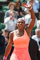 June 3, 2015: Serena Williams of United States of America celebrates after winning a Quarterfinal match against Sara Errani of Italy on day eleven of the 2015 French Open tennis tournament at Roland Garros in Paris, France. Williams won 61 63. Sydney Low/AsteriskImages
