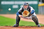 21 August 2010: Vermont Lake Monsters' catcher David Freitas warms up his pitcher prior to a game against the Brooklyn Cyclones at Centennial Field in Burlington, Vermont. The Cyclones defeated the Lake Monsters 8-7 in a 12-inning game that had to be resumed in Brooklyn on August 31 due to late inning rain. Mandatory Credit: Ed Wolfstein Photo