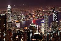 Hong Kong city skyline viewed from Victoria Peak at night, Hong Kong SAR, China, Asia