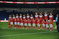 Cardiff City Stadium, Friday 11th Oct 2013. The Wales team line up for the National anthems during the Wales v Macedonia FIFA World Cup 2014 Qualifier match at Cardiff City Stadium, Cardiff, Friday 11th Oct 2014. All images are the copyright of Jeff Thomas Photography-07837 386244-www.jaypics.photoshelter.com