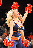 Dec. 17, 2010; Charlottesville, VA, USA; Cheerleaders pump up the crowd during the game as the Virginia Cavaliers hosted the oregon Ducks at the John Paul Jones Arena. Virginia won 63-48. Mandatory Credit: Andrew Shurtleff