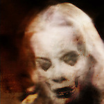 A woman's face lookng down with the skull superimposed