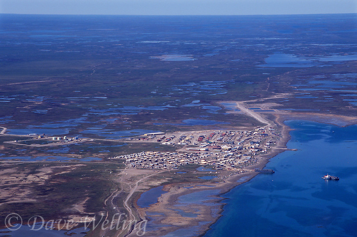 731000069 the remote town of rankin inlet and the surrounding barren ground tundra in the nunavut territories of northern canada