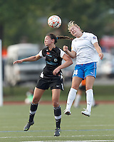 New England Mutiny midfielder Rebecca Mays (10) and Boston Breakers forward Courtney Jones (84) battle for head ball. In a Women's Premier Soccer League Elite (WPSL) match, the Boston Breakers defeated New England Mutiny, 4-2, at Dilboy Stadium on June 20, 2012.
