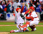 PHILADELPHIA - OCTOBER 29: Brad Lidge #54 and Carlos Ruiz #51 of the Philadelphia Phillies celebrate a World Series victory against the Tampa Bay Rays during the continuation of game five of the 2008 MLB World Series on October 29, 2008 at Citizens Bank Park in Philadelphia, Pennsylvania.The Phillies defeated the Rays 4 to 3 to win the 2008 World Series. *** Local Caption *** Brad Lidge;Carlos Ruiz
