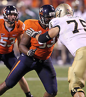 Sept. 3, 2011 - Charlottesville, Virginia - USA; Virginia Cavaliers defensive tackle Will Hill (93) defends William & Mary Tribe offensive linesman Matt Crisafi (75) during an NCAA football game at Scott Stadium. Virginia won 40-3. (Credit Image: © Andrew Shurtleff