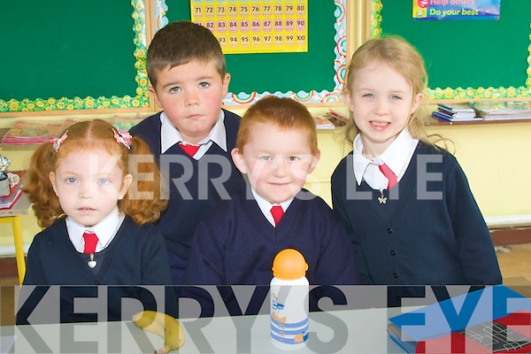 SUS: On their sus were junior infants of Ballincrossig NS, Ballyduff on Tuesday. l-r: Katie Moloney,Adam Walsh, nathan McAuliffe and Ava Reilly.... ....