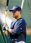 4 September 2009: Cleveland Indians' utilityman Jamey Carroll awaits his turn in the batting cage prior to a game against the Minnesota Twins at Progressive Field in Cleveland, Ohio. The Indians defeated the Twins 5-2 to take the first game of their three-game weekend series. Mandatory Credit: Ed Wolfstein Photo