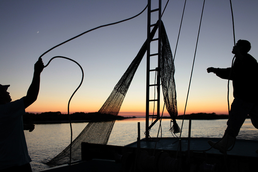 Jason Melerine shrimping with Stephen Tircuit on Delacroix Island, LA on November 8, 2010.