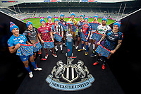 Picture by Allan McKenzie/SWpix.com - 15/05/2017 - Rugby League - Dacia Magic Weekend 2017 Preview - St James Park, Newcastle, England - 12 Super League representatives pose with the Betfred Super League trophy ahead of the Dacia Magic Weekend at St James's Park in Newcastle, Oddballs, branding.