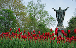 Jesus, statue, Main, Quad, scenic, spring, sacred, heart, tulips by Barbara Johnston/University of Notre Dame