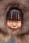 Inuit girl, Katovik, Barter Island, Alaska, USA