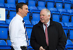 St Johnstone v Ross County.....21.04.13      SPL.Ross County manager Derek Adams talks with Craig Brown.Picture by Graeme Hart..Copyright Perthshire Picture Agency.Tel: 01738 623350  Mobile: 07990 594431