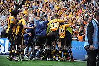 Newport County players celebrate with their supporters on winning promotion during the Newport County v Wrexham Blue Sq. Bet Premier league playoff final at Wembley Stadium, London, England Sunday 5th May 2013. Credit for pictures to Jeff Thomas Photography - www.jaypics.photoshelter.com - 07837 386244 - Use of images are restricted without prior permission of the copyright owner Jeff Thomas Photography.