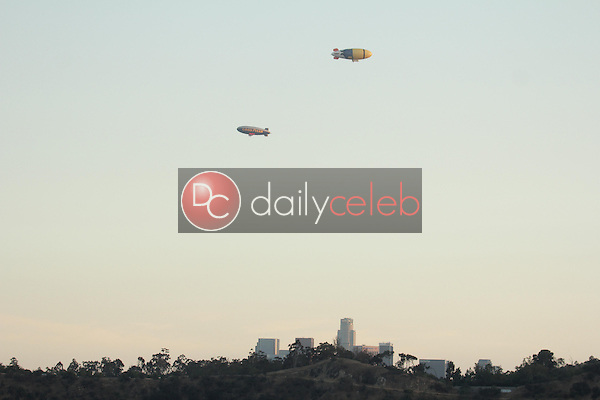 The Goodyear Blimp and the &quot;Despicable Me 2&quot; Blimp<br />
