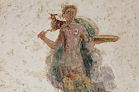 Fresco detail of a figure carrying a dead deer, possibly from a hunting scene, in the Triclinium, probably used for lunches, a large room open to the garden, with walls painted on a white background with figures and plants and ornamental borders and floating figures of the seasons, in the Casa dell Efebo, or House of the Ephebus, Pompeii, Italy. This room is decorated in the Fourth Style of Roman wall painting, 60-79 AD, a complex narrative style. This is a large, sumptuously decorated house probably owned by a rich family, and named after the statue of the Ephebus found here. Pompeii is a Roman town which was destroyed and buried under 4-6 m of volcanic ash in the eruption of Mount Vesuvius in 79 AD. Buildings and artefacts were preserved in the ash and have been excavated and restored. Pompeii is listed as a UNESCO World Heritage Site. Picture by Manuel Cohen