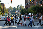 People participate in the CROP Hunger Walk, held October 27, 2013, in Raleigh, North Carolina.