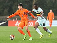 20170314 - UDEN , NETHERLANDS :  Dutch Mohamed Mallahi (L) and Belgian Mohamed Loua (R) pictured during the UEFA Under 17 Elite round game between The Netherlands U17 and Belgium U17, on the first matchday in group 5 of the Uefa Under 17 elite round in The Netherlands , tuesday 14 th March 2017 . PHOTO SPORTPIX.BE | DIRK VUYLSTEKE