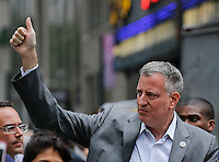 New York City, NY. 21 September 2014. New York City Mayor Bill De Blasio attend the People's Climate March, making it the largest climate march in history. Photo by Kena Betancur/VIEWpress