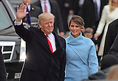 United States President Donald J. Trump and first lady Melania Trump walk in the Inaugural Parade celebrating the Inauguration of Donald J. Trump as the 45th President of the United States down Pennsylvania Avenue in Washington, DC on Friday, January 20, 2017.<br /> Credit: Ron Sachs / CNP<br /> (RESTRICTION: NO New York or New Jersey Newspapers or newspapers within a 75 mile radius of New York City)