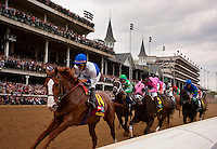 Shackleford leads the derby field under the twin spires for in the Kentucky Derby, Louisville Ky. May 7, 2011 Credit: Alex Evers/EquiSport Photos.