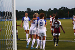 The UK Women's Soccer celebrates their second goal off a corner kick in the second half against Eastern Kentucky Colonels at UK Soccer Complex on Friday, Aug. 24, 2012. UK won 2-1. Photo by Scott Hannigan | Staff
