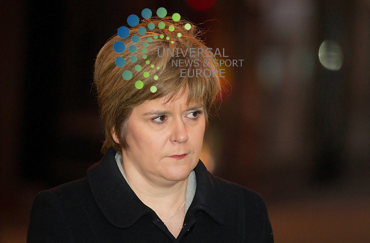 Nicola Sturgeon Deputy First Minister of Scotland -<br /> Eight people are now confirmed to have died after a police helicopter crashed into a busy pub in Glasgow city centre.<br /> Three people inside the helicopter and five people inside The Clutha were killed after the Police Scotland aircraft came down at 22:30 on Friday.<br /> A further 14 people are being treated for &quot;very serious injuries&quot; in hospitals across the city.<br /> A major investigation is under way and the Air Accidents Investigations Branch will conduct an inquiry into the crash.<br /> The three occupants of the helicopter were two police officers and a civilian pilot.<br /> Picture: Maurice McDonald/Universal News And Sport (Europe) 30 November  2013