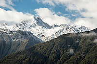 Lyttle Peak of Southern Alps near Fox Glacier after fresh snowfall, Westland Tai Poutini National Park, UNESCO World Heritage Area, West Coast, New Zealand, NZ