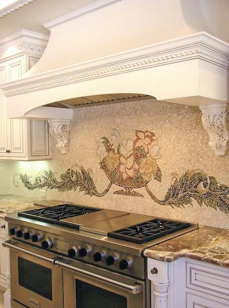 Custom Monique, hand cut stone mosaic kitchen backsplash.