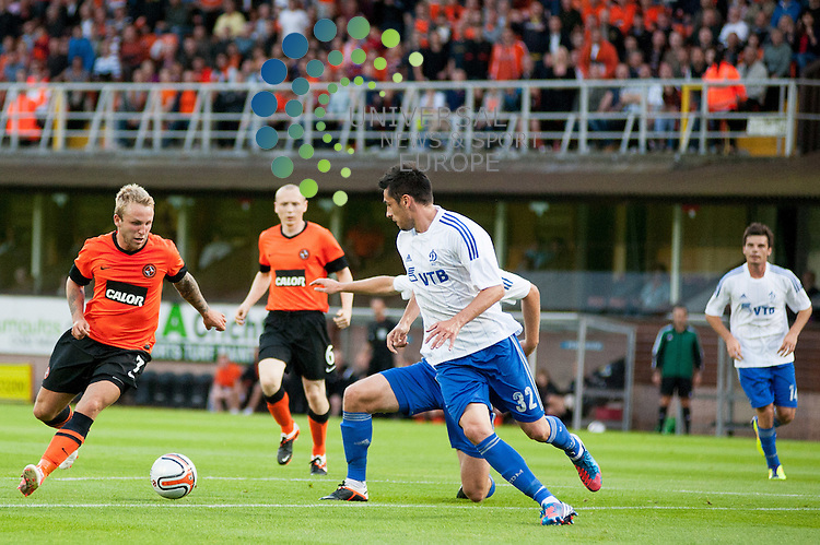 Dundee Utd player Johnny Russell looks to get a shot away...Dundee Utd and Dinamo Moscow contest the first leg of their UEFA Europa League Qualifying Third Round tie at Tannadice in Dundee on Thursday 2nd August.