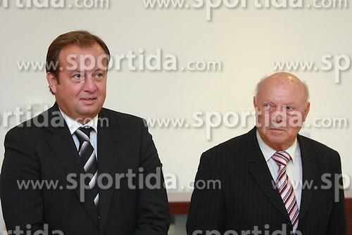Matjaz Sekelj and Janko Popovic at meeting of HD Tilia Olimpija with slovenian journalists before the new season,  on September 15, 2008 in Tivoli, Ljubljana, Slovenia.  (Photo by Vid Ponikvar / Sportal Images)