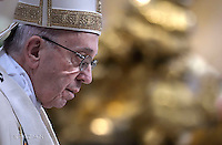 Pope Francis during the mass. the Solemnity of Epiphany at St Peter's basilica at the Vaticanon January 6, 2017