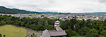 Photo shows the view from the top of Tsuruga-jo castle in Aizuwakamatsu City, Fukushima Prefecture, Japan.  Photographer: Rob Gilhooly