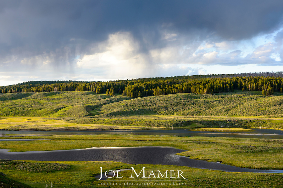 Hayden Valley at sunset with gathering storm.