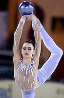 October 19, 2001; Madrid, Spain:  TAMARA YEROFEEVA of Ukraine performs with ball at 2001 World Championships at Madrid.
