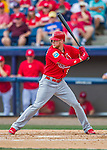 13 March 2016: St. Louis Cardinals outfielder Jeremy Hazelbaker in action during a pre-season Spring Training game against the Washington Nationals at Space Coast Stadium in Viera, Florida. The teams played to a 4-4 draw in Grapefruit League play. Mandatory Credit: Ed Wolfstein Photo *** RAW (NEF) Image File Available ***