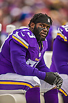 19 October 2014: Minnesota Vikings defensive tackle Sharrif Floyd glances up at the scoreboard in the first quarter against the Buffalo Bills at Ralph Wilson Stadium in Orchard Park, NY. The Bills defeated the Vikings 17-16 in a dramatic, last minute, comeback touchdown drive. Mandatory Credit: Ed Wolfstein Photo *** RAW (NEF) Image File Available ***