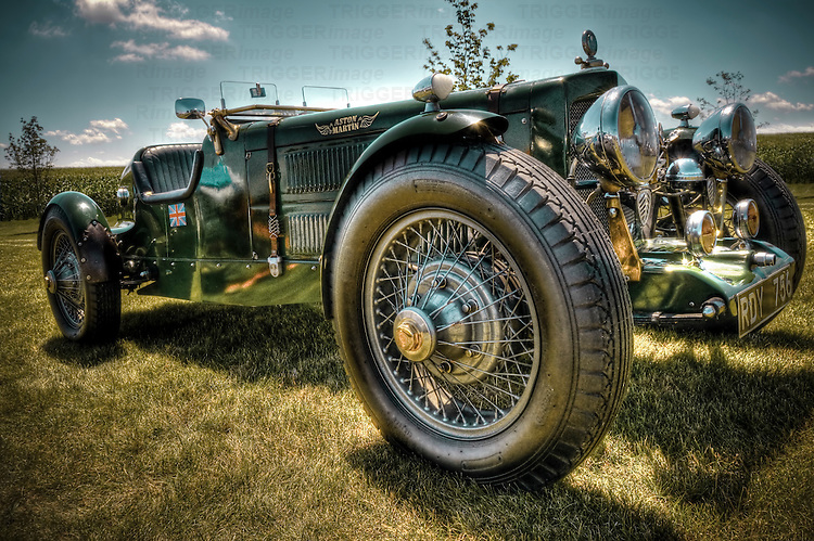 Vintage Aston Martin car with wire wheels