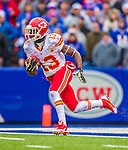 9 November 2014: Kansas City Chiefs running back De'Anthony Thomas returns a punt in the second quarter against the Buffalo Bills at Ralph Wilson Stadium in Orchard Park, NY. The Chiefs rallied with two fourth quarter touchdowns to defeat the Bills 17-13. Mandatory Credit: Ed Wolfstein Photo *** RAW (NEF) Image File Available ***