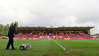 Lincoln City ground staff prepare the pitch ahead of the game<br /> <br /> Photographer Chris Vaughan/CameraSport<br /> <br /> Vanarama National League - Lincoln City v Macclesfield Town - Saturday 22nd April 2017 - Sincil Bank - Lincoln<br /> <br /> World Copyright &copy; 2017 CameraSport. All rights reserved. 43 Linden Ave. Countesthorpe. Leicester. England. LE8 5PG - Tel: +44 (0) 116 277 4147 - admin@camerasport.com - www.camerasport.com