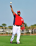 19 February 2011: Washington Nationals' pitcher Livan Hernandez warms up with light tossing during Spring Training at the Carl Barger Baseball Complex in Viera, Florida. Mandatory Credit: Ed Wolfstein Photo