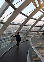 The Berlin skyline is seen from the dome at the top of the Reichstag building in Berlin December 28, 2008. It was opened in 1894 and housed the Reichstag until 1933, when it was severely damaged in a fire supposedly set by Dutch communist Marinus van der Lubbe, who was later beheaded for the crime. The building remained in ruins until the reunification of Germany, when it underwent reconstruction led by internationally renowned architect Norman Foster. After its completion in 1999, it became the meeting place of the modern German parliament, the Bundestag. (Photo by Alan Greth)