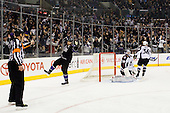 Dustin Brown (Los Angeles Kings, #23) celebrates goal during ice-hockey match between Los Angeles Kings and Colorado Avalanche in NHL league, Februar 26, 2011 at Staples Center, Los Angeles, USA. (Photo By Matic Klansek Velej / Sportida.com)