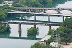 Three of Austin's bridges across the Colorado River as seen from the Austonian building, July 6, 2009.  The Austonian is the tallest building in Austin.